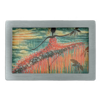 DANCER AND DRAGONFLIES 26 RECTANGULAR BELT BUCKLE