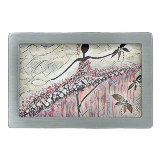 DANCER AND DRAGONFLIES 2 RECTANGULAR BELT BUCKLE