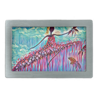 DANCER AND DRAGONFLIES 3 RECTANGULAR BELT BUCKLE