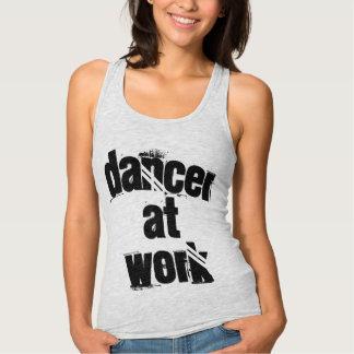 Dancer at Work Grey Racer Tank Top