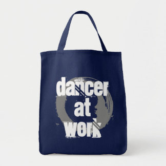 Dancer at Work Navy/White/Grey Grocery Tote Bag
