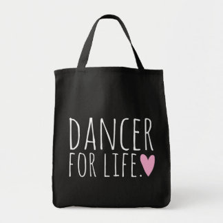 Dancer For Life Black with Heart Grocery Tote Bag