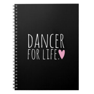 Dancer For Life Black with Heart Spiral Notebooks