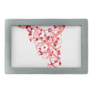 dancer hearts rectangular belt buckle