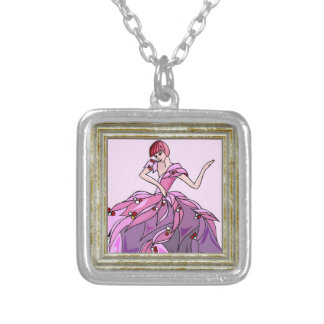 Dancer In Pink Dress Silver Plated Necklace