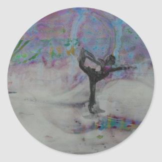 Dancer In The Snow Yoga Girl Classic Round Sticker