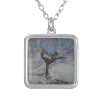 Dancer In The Snow Yoga Girl Silver Plated Necklace