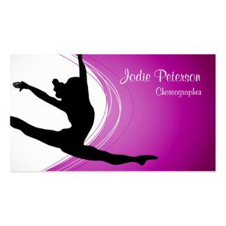 Dancer Jette Leap Silhouette Fuschia Business Card