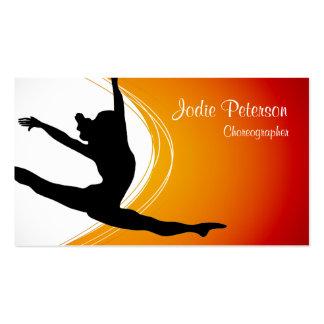 Dancer Jette Leap Silhouette Orange Business Card