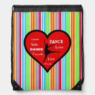 Dancer on Heart Candy Striped Drawstring Backpack