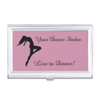 Dancer Silhouette Personalized Pink Business Card Holder