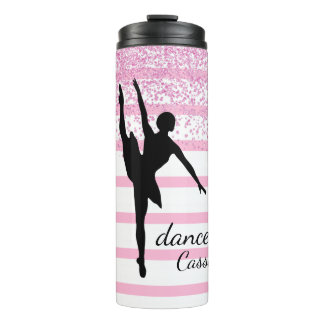 Dancer Silhouette Striped Thermal Tumbler