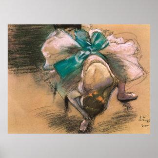 Dancer Tying Her Ribbons by Edgar Degas Poster
