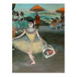 Dancer with bouquet, curtseying, 1877 post card
