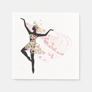 Dancer With Flowers Paper Napkins Disposable Napkin
