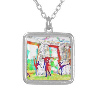 Dancers at Stonehenge Silver Plated Necklace