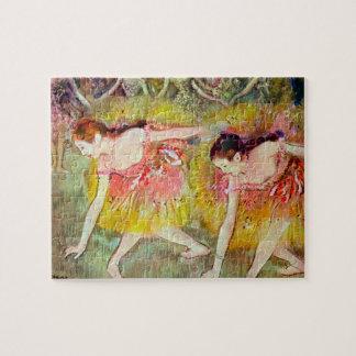 Dancers Bending Down by Edgar Degas, Ballet Art Jigsaw Puzzle