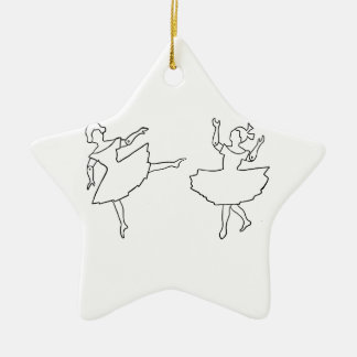 Dancers Cutout Illustration Ceramic Ornament