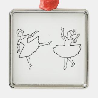 Dancers Cutout Illustration Metal Ornament
