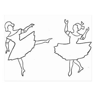 Dancers Cutout Illustration Postcard
