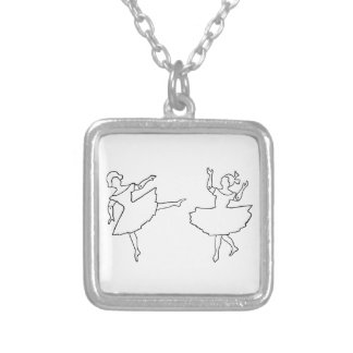 Dancers Cutout Illustration Silver Plated Necklace