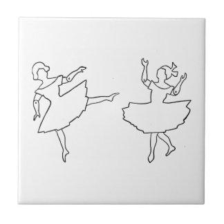 Dancers Cutout Illustration Small Square Tile