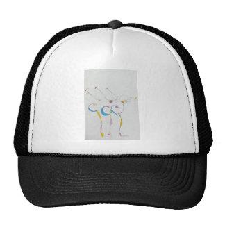dancers gesture mesh hats
