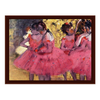 Dancers In Pink In The Wings By Edgar Degas Postcard