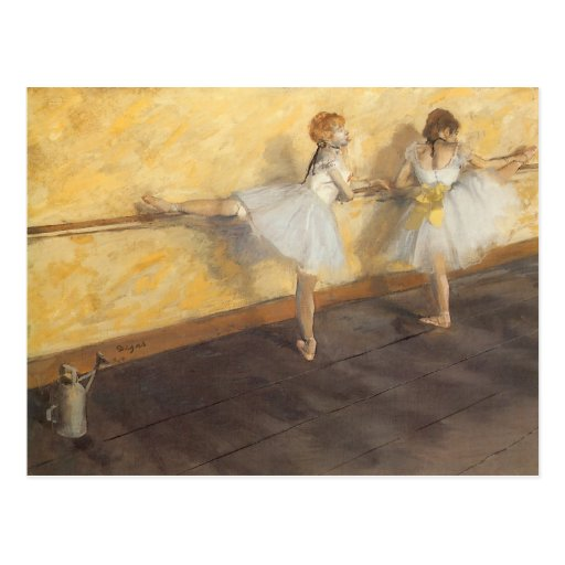 Dancers Practicing at the Barre by Edgar Degas Post Cards