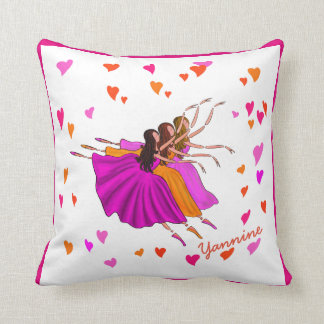 DANCERS THROW PILLOW, COLORFUL BALLERINAS DANCING CUSHION