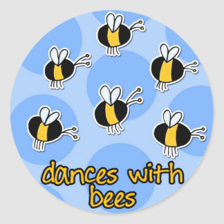dances with bees classic round sticker
