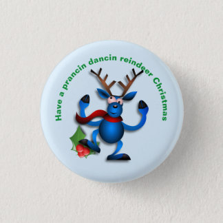 Dancin Prancin Reindeer Address Label 3 Cm Round Badge