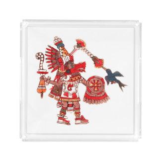 Dancing Aztec shaman warrior Acrylic Tray
