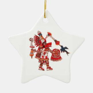 Dancing Aztec shaman warrior Ceramic Ornament