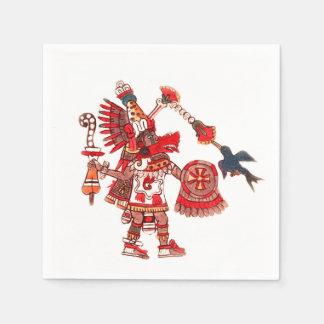 Dancing Aztec shaman warrior Disposable Serviette