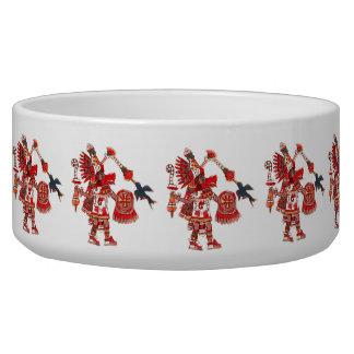 Dancing Aztec shaman warrior Dog Water Bowl