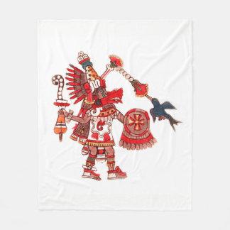 Dancing Aztec shaman warrior Fleece Blanket