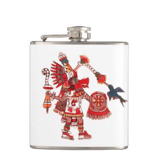 Dancing Aztec shaman warrior Hip Flask