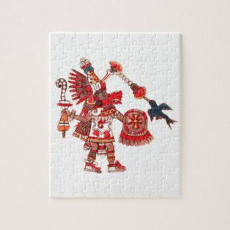 Dancing Aztec shaman warrior Jigsaw Puzzle