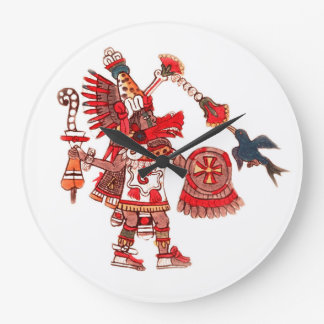 Dancing Aztec shaman warrior Large Clock