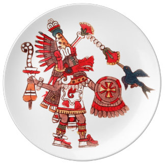 Dancing Aztec shaman warrior Plate