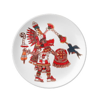 Dancing Aztec shaman warrior Plate