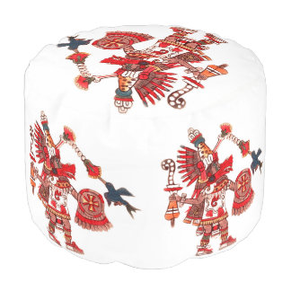 Dancing Aztec shaman warrior Pouf
