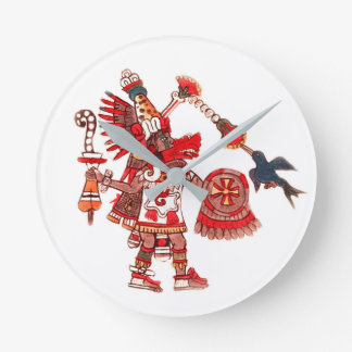 Dancing Aztec shaman warrior Round Clock