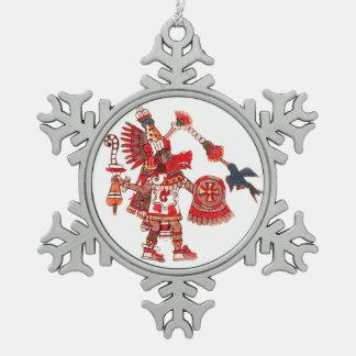 Dancing Aztec shaman warrior Snowflake Pewter Christmas Ornament