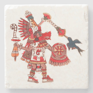 Dancing Aztec shaman warrior Stone Coaster