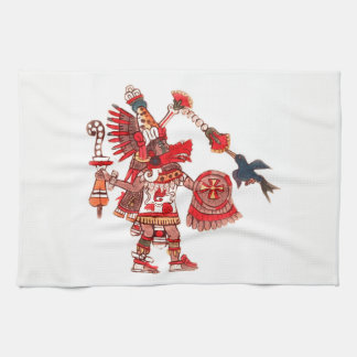 Dancing Aztec shaman warrior Tea Towel