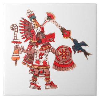 Dancing Aztec shaman warrior Tile
