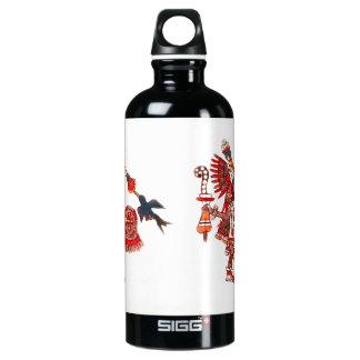 Dancing Aztec shaman warrior Water Bottle