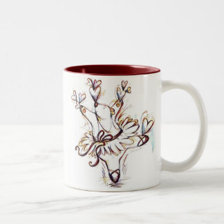 Dancing Ballerina Bear Two-Tone Coffee Mug